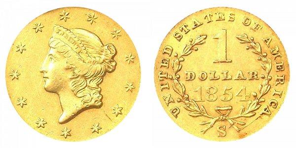 1854 S Liberty Head Gold Dollar G$1