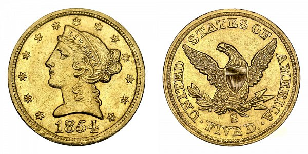 1854 S Liberty Head $5 Gold Half Eagle - Five Dollars