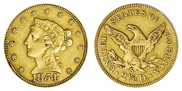 1854 S Liberty Head $2.50 Gold Quarter Eagle - 2 1/2 Dollars