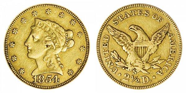 1854 S Liberty Head $2.50 Gold Quarter Eagle - 2 1/2 Dollars