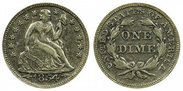 1854 Seated Liberty Dime