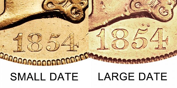 1854 Small Date vs Large Date - $20 Liberty Head Gold Double Eagle - Difference and Comparison