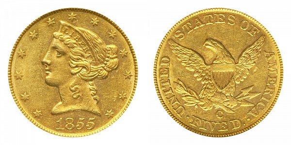 1855 C Liberty Head $5 Gold Half Eagle - Five Dollars