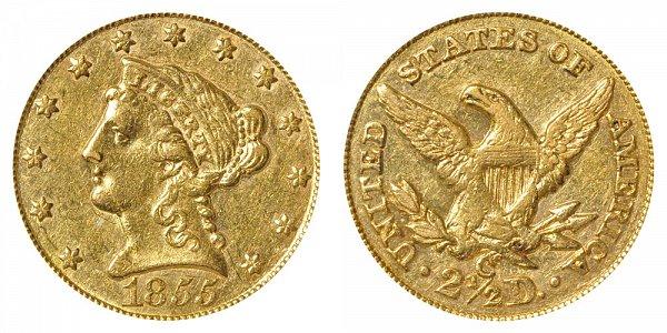 1855 C Liberty Head $2.50 Gold Quarter Eagle - 2 1/2 Dollars