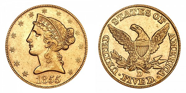1855 D Liberty Head $5 Gold Half Eagle - Five Dollars