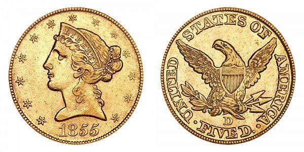 1855 D Liberty Head $5 Gold Half Eagle - Five Dollars