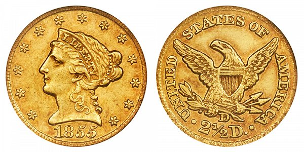 1855 D Liberty Head $2.50 Gold Quarter Eagle - 2 1/2 Dollars