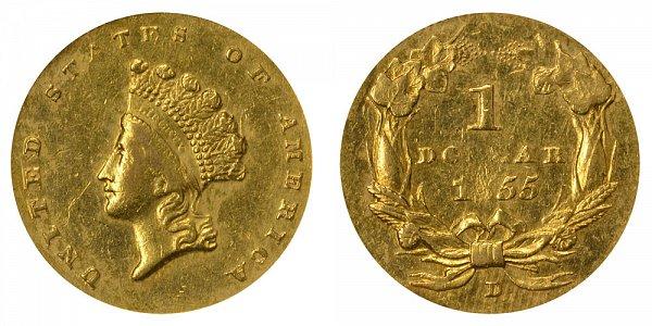 1855 D Small Indian Princess Head Gold Dollar G$1