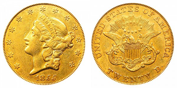 1855 Liberty Head $20 Gold Double Eagle - Twenty Dollars