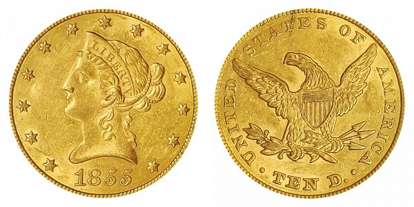 1855 Liberty Head $10 Gold Eagle - Ten Dollars