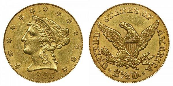 1855 Liberty Head $2.50 Gold Quarter Eagle - 2 1/2 Dollars