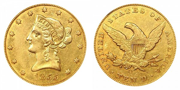 1855 O Liberty Head $10 Gold Eagle - Ten Dollars