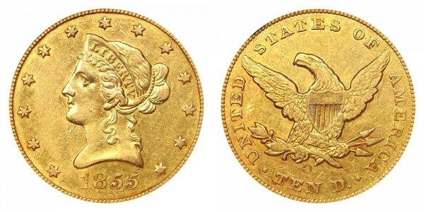 1855 O Liberty Head $10 Gold Eagle - Ten Dollars