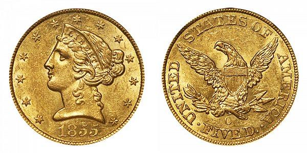 1855 O Liberty Head $5 Gold Half Eagle - Five Dollars