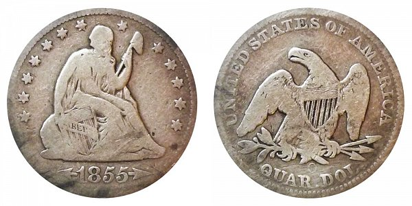 1855 O Seated Liberty Quarter