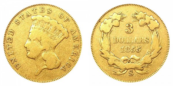 1855 S Indian Princess Head $3 Gold Dollars - Three Dollars
