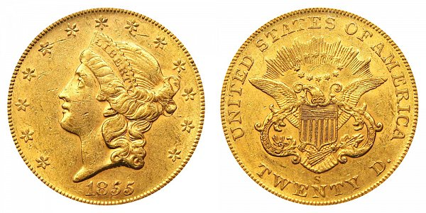 1855 S Liberty Head $20 Gold Double Eagle - Twenty Dollars