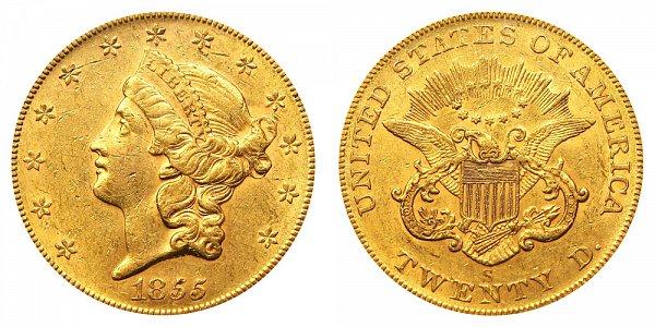 1855 S Liberty Head $20 Gold Double Eagle - Twenty Dollars