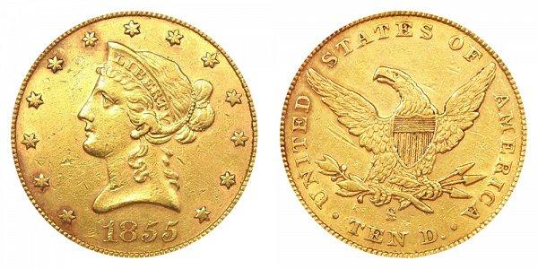 1855 S Liberty Head $10 Gold Eagle - Ten Dollars