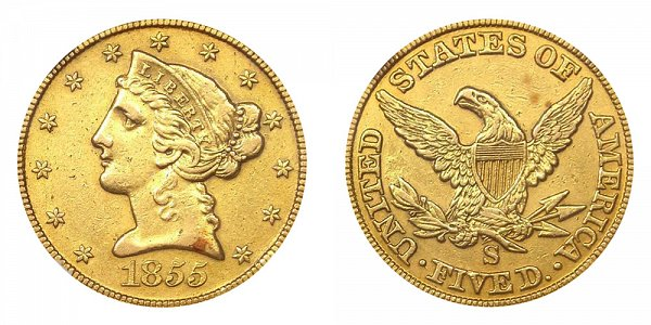 1855 S Liberty Head $5 Gold Half Eagle - Five Dollars
