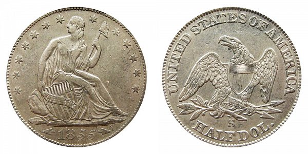 1855 S Seated Liberty Half Dollar