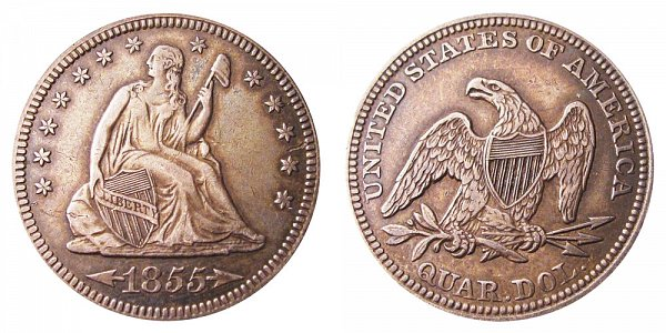 1855 Seated Liberty Quarter