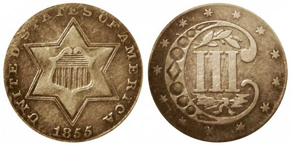 1855 Silver Three Cent Piece Trime