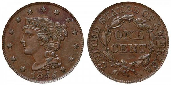 1855 Braided Hair Large Cent Penny - Slanted 5's