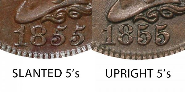 1855 Slanted 5s vs Upright 5s Braided Hair Large Cent - Difference and Comparison