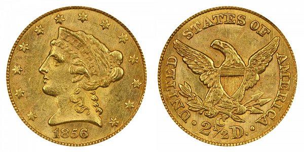 1856 C Liberty Head $2.50 Gold Quarter Eagle - 2 1/2 Dollars