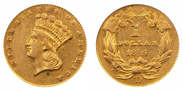1856 D Large Indian Princess Head Gold Dollar G$1