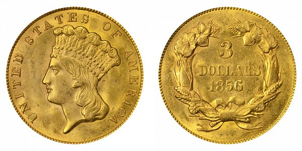 1856 Indian Princess Head $3 Gold Dollars - Three Dollars