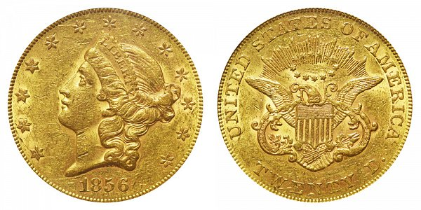 1856 Liberty Head $20 Gold Double Eagle - Twenty Dollars