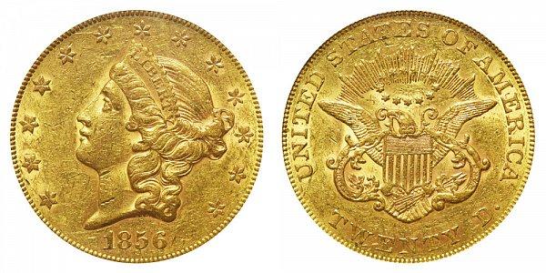 1856 Liberty Head $20 Gold Double Eagle - Twenty Dollars
