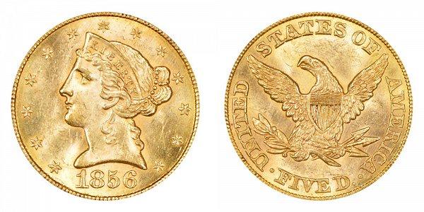 1856 Liberty Head $5 Gold Half Eagle - Five Dollars