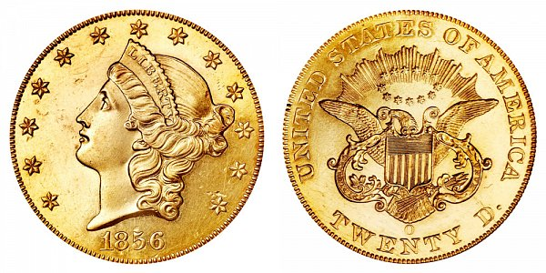 1856 O Liberty Head $20 Gold Double Eagle - Twenty Dollars