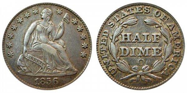 1856 O Seated Liberty Half Dime