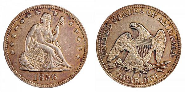 1856 O Seated Liberty Quarter