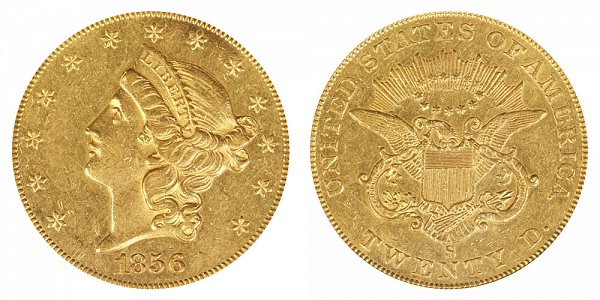 1856 S Liberty Head $20 Gold Double Eagle - Twenty Dollars