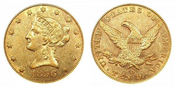 1856 S Liberty Head $10 Gold Eagle - Ten Dollars
