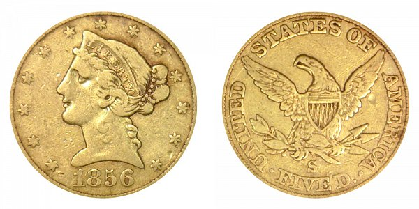 1856 S Liberty Head $5 Gold Half Eagle - Five Dollars