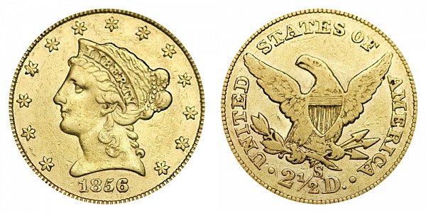 1856 S Liberty Head $2.50 Gold Quarter Eagle - 2 1/2 Dollars