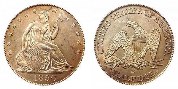 1856 S Seated Liberty Half Dollar