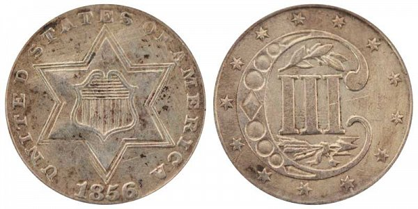 1856 Silver Three Cent Piece Trime