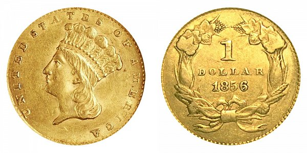 1856 Large Indian Princess Head Gold Dollar G$1 - Upright 5