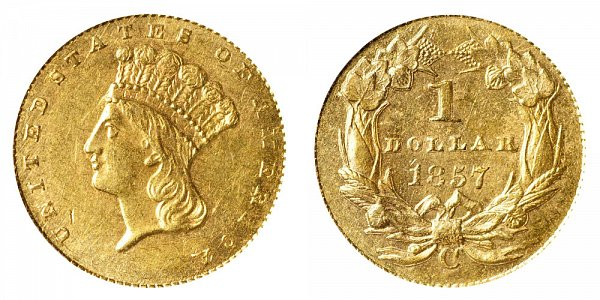 1857 C Large Indian Princess Head Gold Dollar G$1