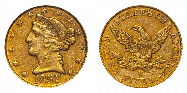 1857 C Liberty Head $5 Gold Half Eagle - Five Dollars