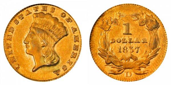 1857 D Large Indian Princess Head Gold Dollar G$1