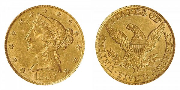1857 D Liberty Head $5 Gold Half Eagle - Five Dollars