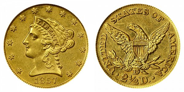 1857 D Liberty Head $2.50 Gold Quarter Eagle - 2 1/2 Dollars